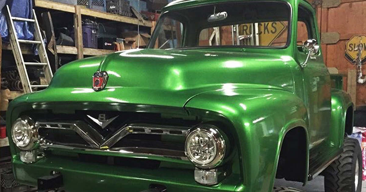 1955 Ford F100 460 Heavy Metal Flake Green 4x4 1.jpg