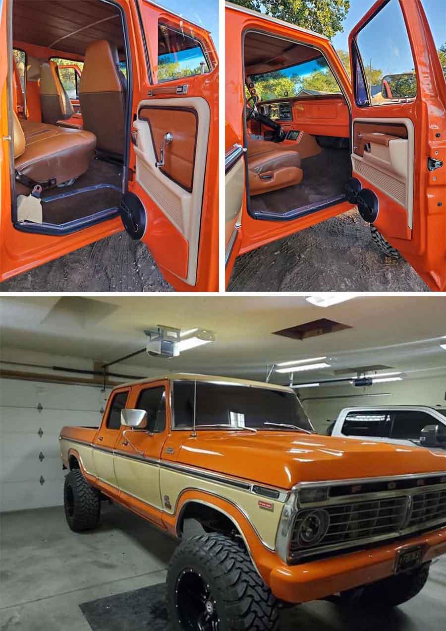 1977 Ford F250 4x4 Crew Cab Orange & Cream Pearl  10.jpg