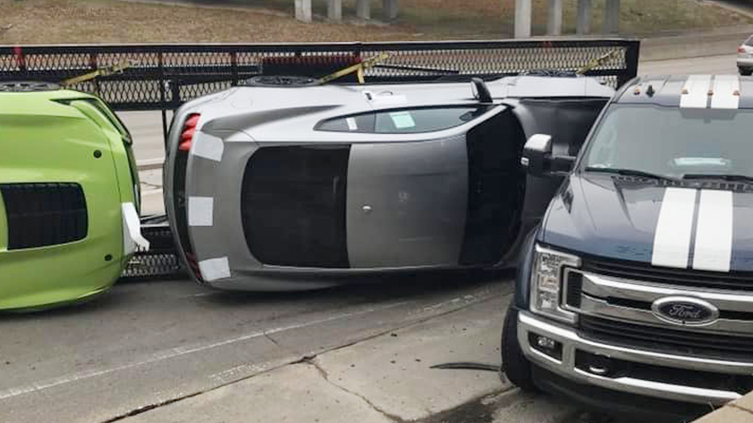 New 2020 Ford Mustang Shelby GT500s flips from Car Carrier Hauling in Detroit, Michigan.jpg